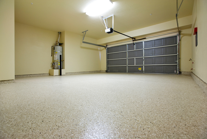 Tan, Black, & White Speckled Epoxy Flooring