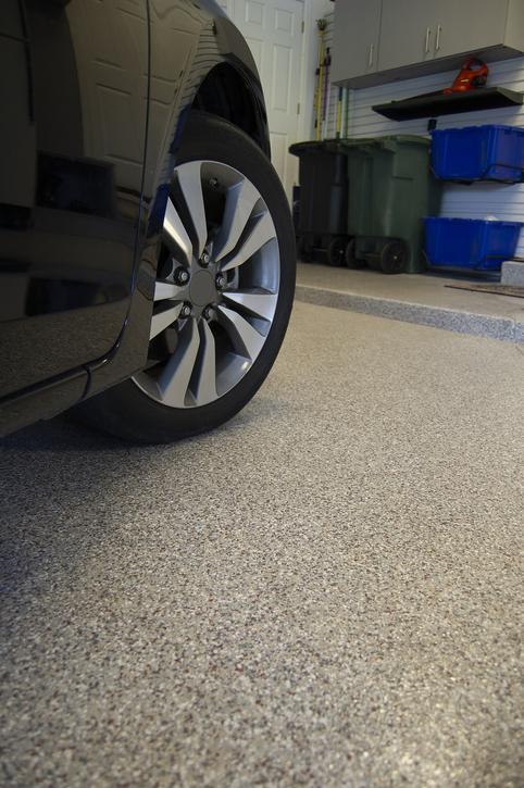 Car Parked on Garage Floor's Epoxy Coating